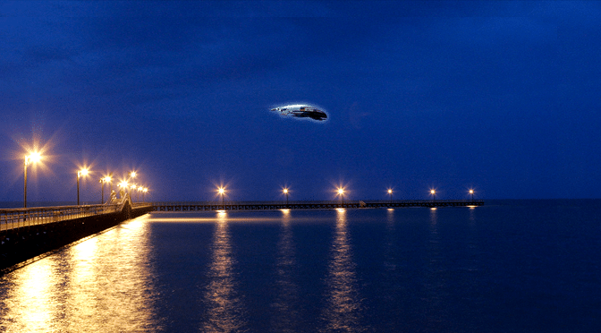 Small Spaceship Hovers Over Port Lavaca, Texas
